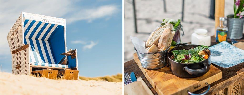 Strandkorb mit Aussicht auf Dinner